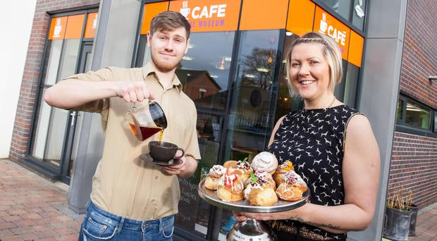 Gillian and Josh Harper at the new cafe on Belfast's Cregagh Road
