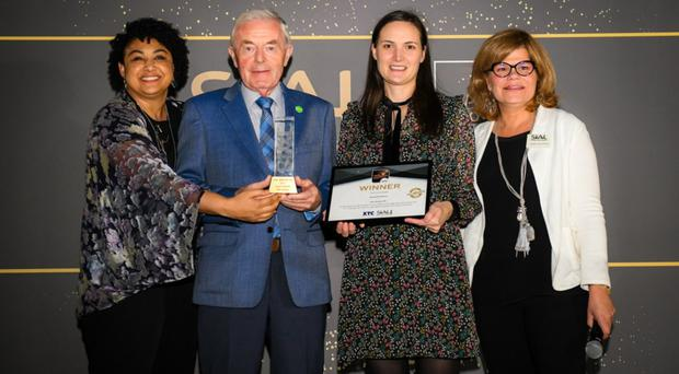 Linwoods managing director, John Woods, and company international sales manager, Sarah Murphy, receive the gold award from the organisers at SIAL