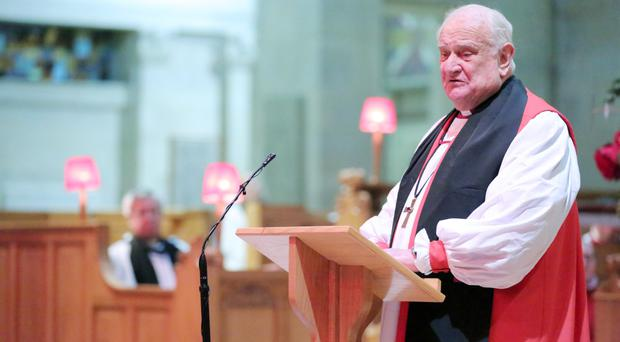 Lord Eames addresses the service at St Anne's Cathedral in Belfast