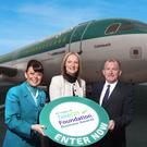 Cabin crew member Lyndsey Minford, Aer Lingus business development manager Andrea Hunter and Richard McClean, managing director of Independent News and Media NI, launch the business awards
