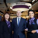 Sean Murphy, managing director of personal banking, Ulster Bank, officially opens the bank's new branch at the Westwood Centre in west Belfast with branch manager, Colette O'Hare (left) and personal banker Hannah Clarke