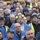 Workers attend the massive Unite Union rally at the factory in East Belfast