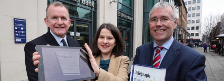 Richard McClean, managing director of Independent News and Media NI, Belfast Telegraph business editor Margaret Canning and head of Ulster Bank in Northern Ireland Richard Donnan