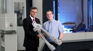 Invest NI chief executive Alastair Hamilton and Mark Semple of Moyola