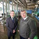 Mark Canning (left), from Danske Bank, with Gabriel D'Arcy, from LacPatrick, which makes butter, liquid milk, cheese and powders