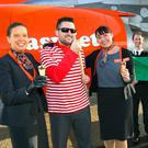 From left: easyJet's Susan Johnston, Mark Roulston from the airport, easyJet's Nicole Carlisle, easyJet first officer Nathan Ball, Uel Hoey from the airport, and Captain Jonathan Murphy of easyJet