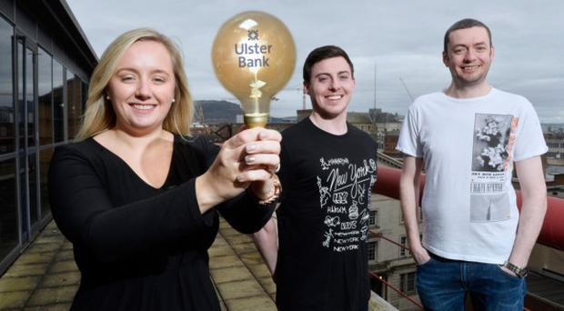 Lighting the way for entrepreneurs is Lynsey Cunningham, entrepreneur development manager at Ulster Bank, along with Matthew Teague (centre) and John Ferris (right) from the Ulster Bank Entrepreneur Accelerator