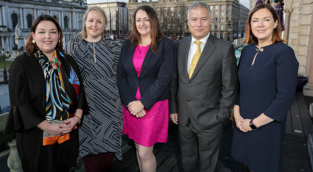 From left: Tina McKenzie, FSB; Kirsty McManus, IoD; Sandra Scannell, Northern Ireland Chamber of Commerce; Nigel Harra of BDO and Angela McGowan, CBI