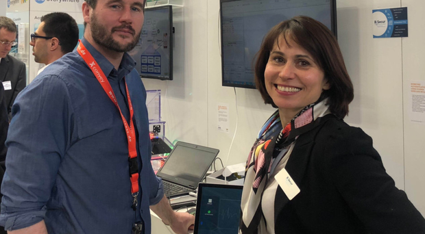 Adrian Condon from B-Secur with colleague Elena Guseva, at Embedded World 2018 in Nuremberg