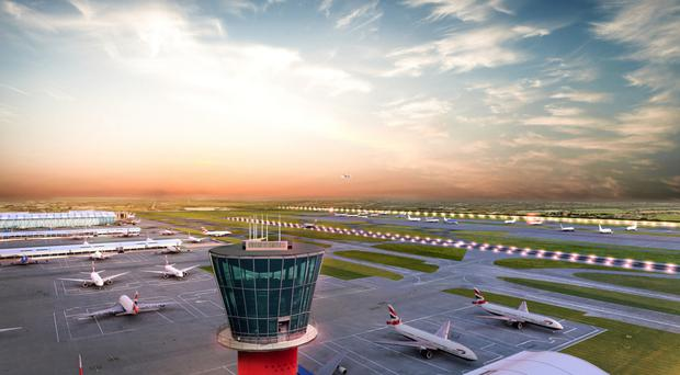 Two artist's impressions of how the expanded Heathrow Airport would look