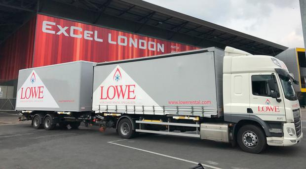 Lowe Rental lorry at ExCeL convention centre in London