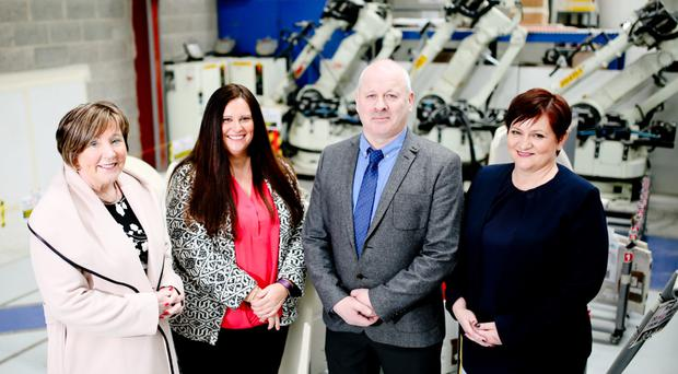 From left, Bradfor managing director Patricia Clements, Kelly Murphy of Invest NI, Exact CNC MD Stephen Cromie and Joanne Liddle, MD, IPC Mouldings