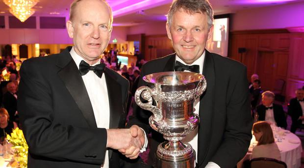 Dr Sinclair Mayne was awarded the Belfast Telegraph Cup at the Ulster Farmers' Union annual dinner for his ground-breaking work in agriculture and in particular, the dairy/grassland sector. Dr Mayne was presented with the cup by the UFU president Barclay Bell