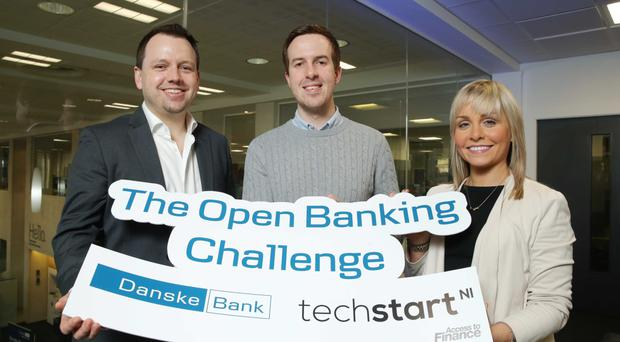 Søren Rode Andreasen of Danske Bank; loyalBe founder Cormac Quinn and Kathleen Garrett of Techstart NI