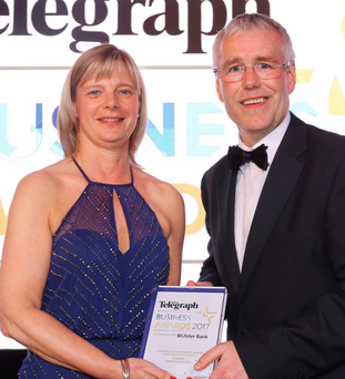 Janet McCollum, chief executive of Moy Park, and Richard Donnan, Ulster Bank Head of Northern Ireland, at last year's awards