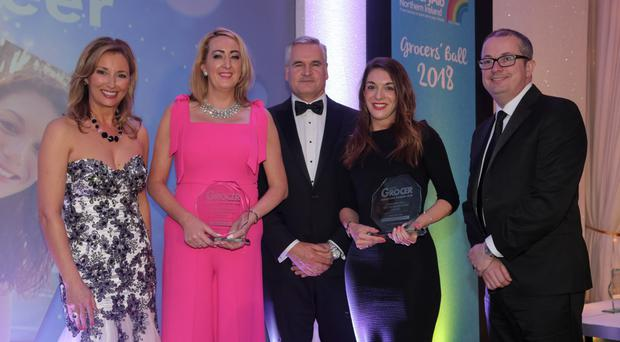 Claire McCollum; Brenda Mulligan of Henderson Group collecting the award on behalf of Conor Toland; Michael Hall; Francine Matthews of Boost Drinks, and Mark Glover of Ulster Grocer