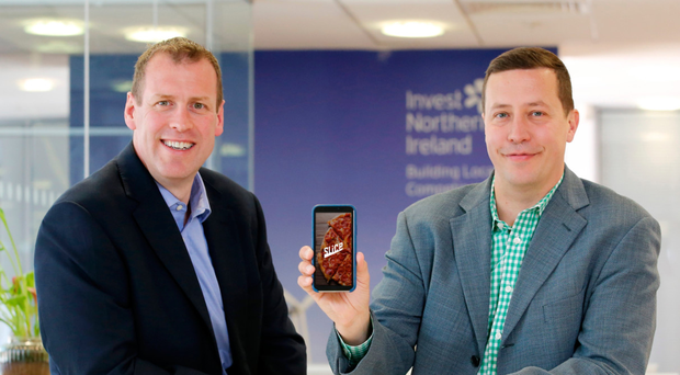 Steve Harper (left), executive director of international business at Invest NI, with Jason Ordway, chief technical officer at Slice