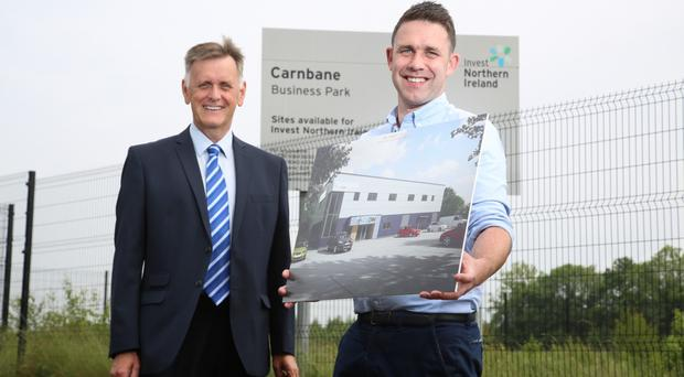Cathal Grant of CGDM Construction (right) with Mark Bleakney of Invest NI