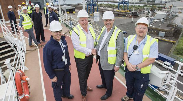 From left: Captain Toledo, MJM group chairman Brian McConville, Larry Pimentel, head of Azamara Club Cruises and Damien Morgan, MJM