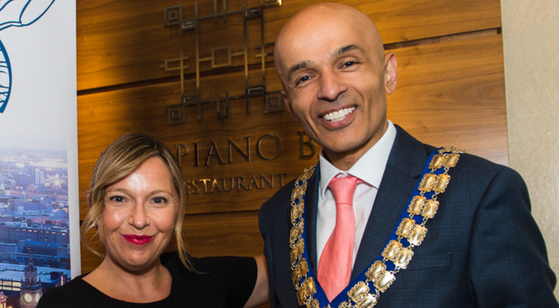 Michelle Greeves with Rajesh Rana, the new Belfast Chamber president