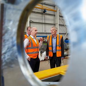 Manufacturing expert Peter Marsh with Sean Dobbs from CDEnviro during his visit to Mid Ulster