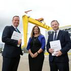 Stephen Kelly of Manufacturing NI, Maureen Treacy of Perceptive Insight and James Donnelly from Tughans launch the 2018 Survey