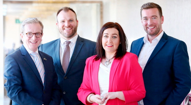 James McGinn, general manager Europa Hotel, Gavin Carroll, general manager of The Merchant Hotel, Nichola Daly of Daly Recruitment and Damian Gilvary, general manager of the George Best Hotel