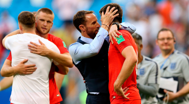 England manager Gareth Southgate (left) with England's Harry Maguire after the final whistle on Saturday