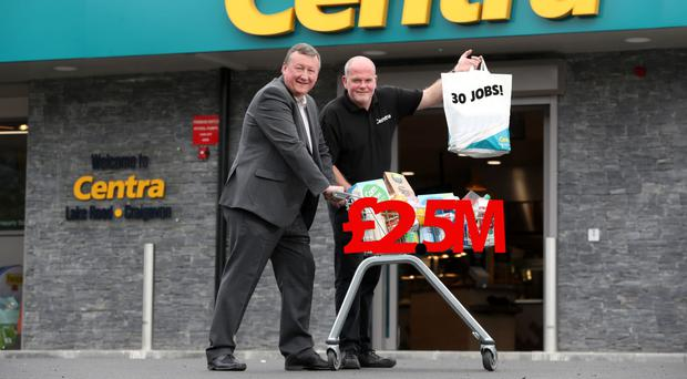 Centra customer manager Norman Bennett with store owner Tom Greene at the new £2.5m Craigavon outlet