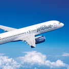 A computer generated image of the A220-300 in JetBlue livery