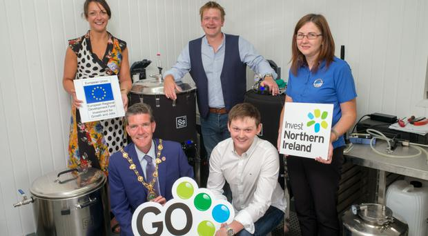 Mayor John Boyle with Orla McNulty of Strabane Enterprise Agency; Adam Colhoun and John Wauchob from The Brewery, and Tara Nicholas