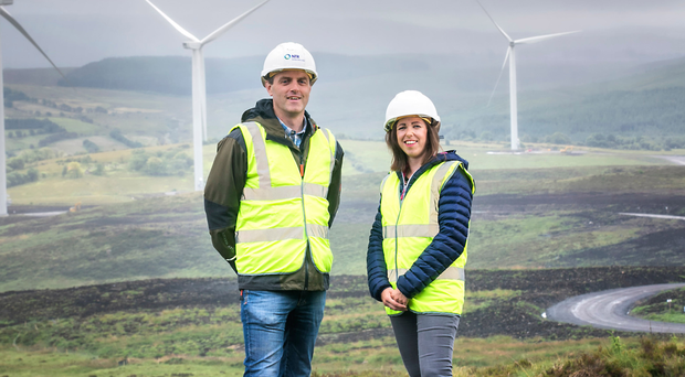 NTR programme manager Martin Sweeney and Fionnuala Brennan of First Trust Bank at the wind farm