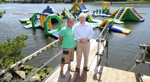 Rob Skelly (left), owner of The Edge Watersports at Crannagh Activity Centre, and Seamus Carey, owner of Crannagh Marina Complex