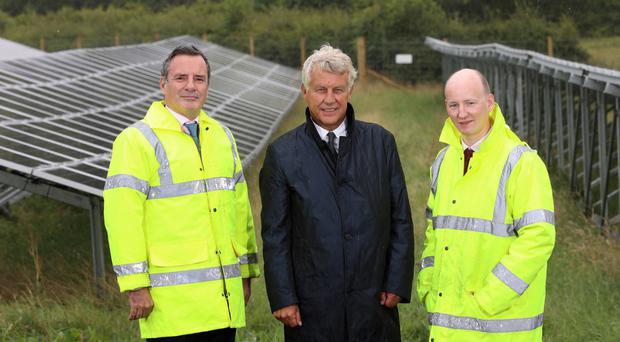 Lightsource chief Nick Boyle, Brett Martin managing director Laurence Martin and financial director Geoff Stewart