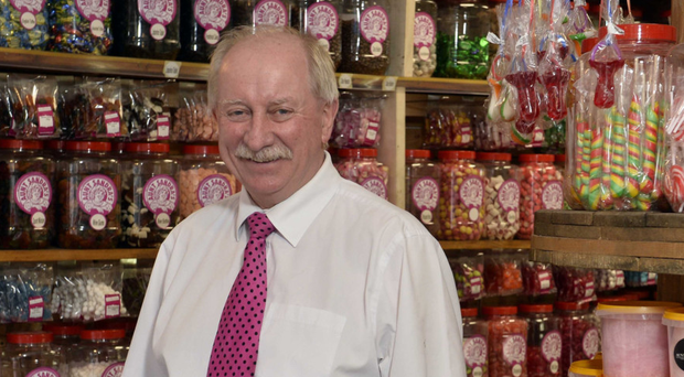Jim Moore in his Aunt Sandra's Candy Store on the Castlereagh Road in Belfast
