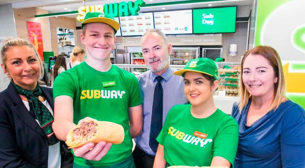 Sharon Kane (left) and Sean Hamill of Spar with Subway's Leon McMaster, Chloe McLaughlin and Stacey Brown