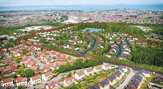 An impression of the Helens Wood site will look in Bangor, where houses will be surrounded by woodland and will overlook a 3.5 acre lake