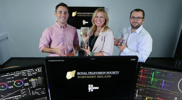From left: Kieran Doherty and Jannine Waddell of RTS NI with Zach Willis of main sponsor Ka-Boom