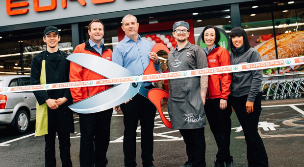Staff at the Eurospar in Lisburn (from left) Glendon Grant, Alan Emerson, Paul O'Halleron, Nathan O'Doherty, Jessica Knight-Smyth and Emma McCutcheon