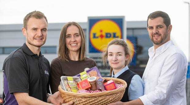 From left to right, Connor Morgan of Oh So Lean, Tara Mullan from Refuge Hot Chocolate, Joel Kerr from Curious Farmer and Rebecca O'Neill of Lidl