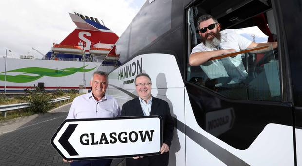Aodh Hannon (left), with Stena Line's Ian Baillie and driver Jim McAlorum