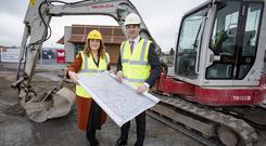Positive: Paddy Cusack with Leona Barr outside the new franchise