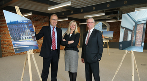 Jonas Mallard of Stargime; Suzanne Wylie of Belfast City Council, and Rory McConnell at Artola House launch