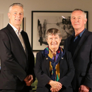 John Hansen, partner in charge of KPMG in NI with Betty Brown, president of the RUA and Peter Neill, RUA vice president at the opening of the exhibition at the Ulster Museum