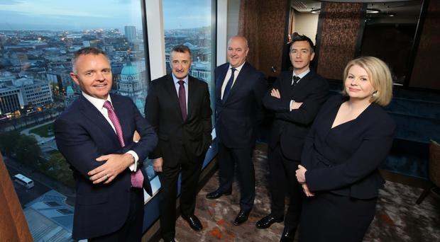 From left: Lisney Belfast MD Declan Flynn, Lisney Dublin director Tony Morrissey, Belfast office agency director David McNellis, Dublin director Paul Hipwell and head of research Aoife Brennan