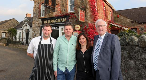 Leigh Ferguson with owners Stevie and Cristina Higginson and local councillor Allan Ewart