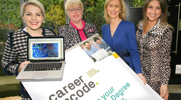 From left, Paula McCloskey from Specialist Joinery Group, Hilary West-Hurst, Coleraine Grammar School, Camilla Long, Career Encode facilitator and director of Bespoke Communications, and event host Sarah Travers of Bespoke Communications