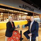 Katy Best, commercial director, and chief executive Brian Ambrose in the upgraded terminal at George Best Belfast City Airport