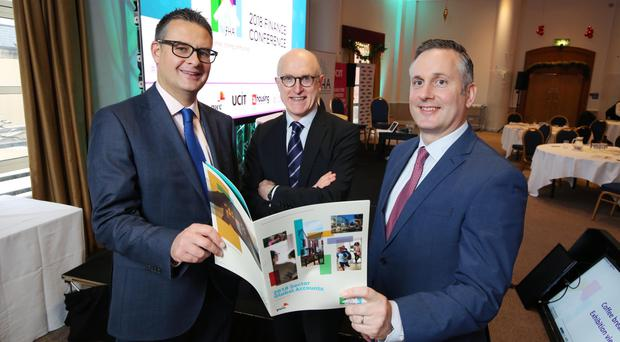 From left: Martin Cowie, PwC; Jamie Delargy, conference chair, and NIFHA chief executive Ben Collins