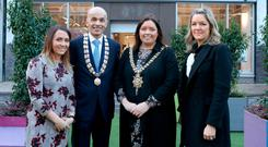 Store manager Anne Marie Burns, Rajesh Rana of the Belfast Chamber of Trade and Commerce, Lord Mayor Deirdre Hargey and Gretta Guiney